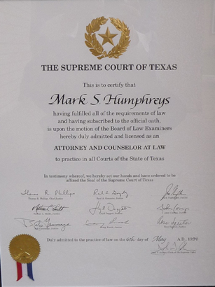 Mark Humphreys Licensed as an Attorney at Law